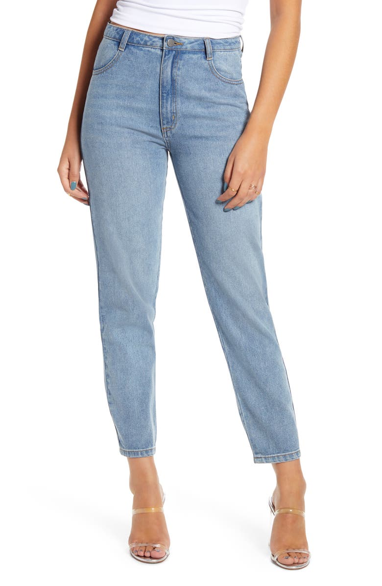 ENGLISH FACTORY High Waist Ankle Jeans, Main, color, DENIM
