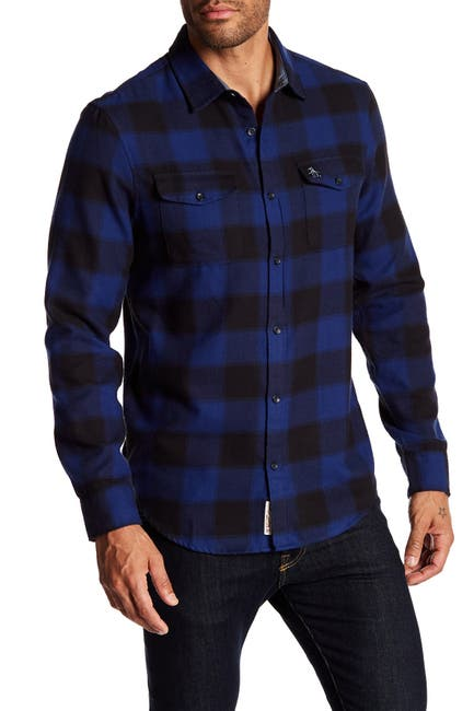 Image of Original Penguin Spread Collared Slim Fit Flannel Shirt
