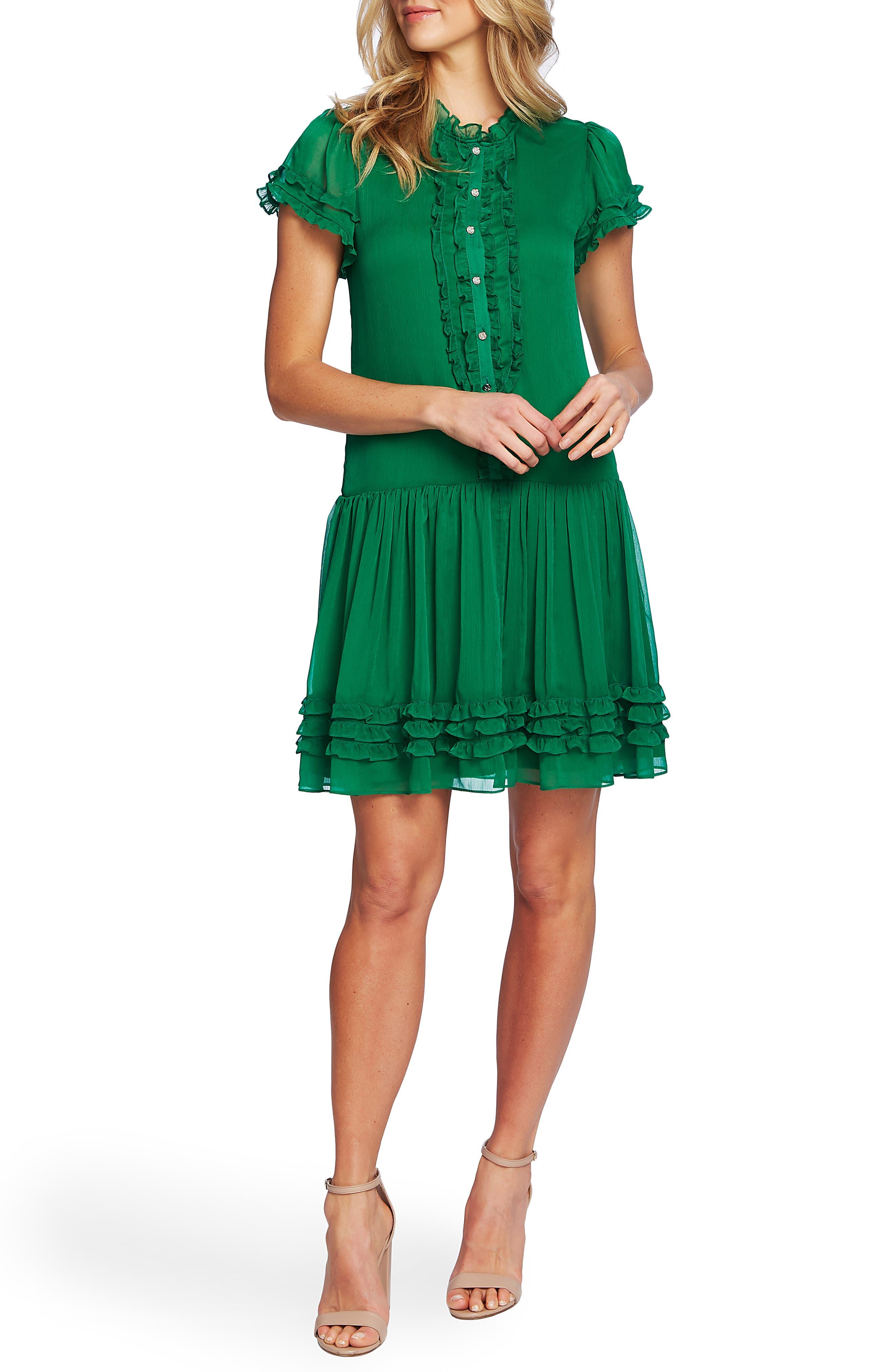 1920s Day Dresses, Tea Dresses, Mature Dresses with Sleeves Womens Cece Ruffle Detail Drop Waist Dress Size Large - Green $139.00 AT vintagedancer.com