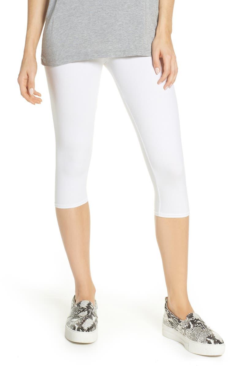 NORDSTROM Go To High Waist Capri Leggings, Main, color, WHITE