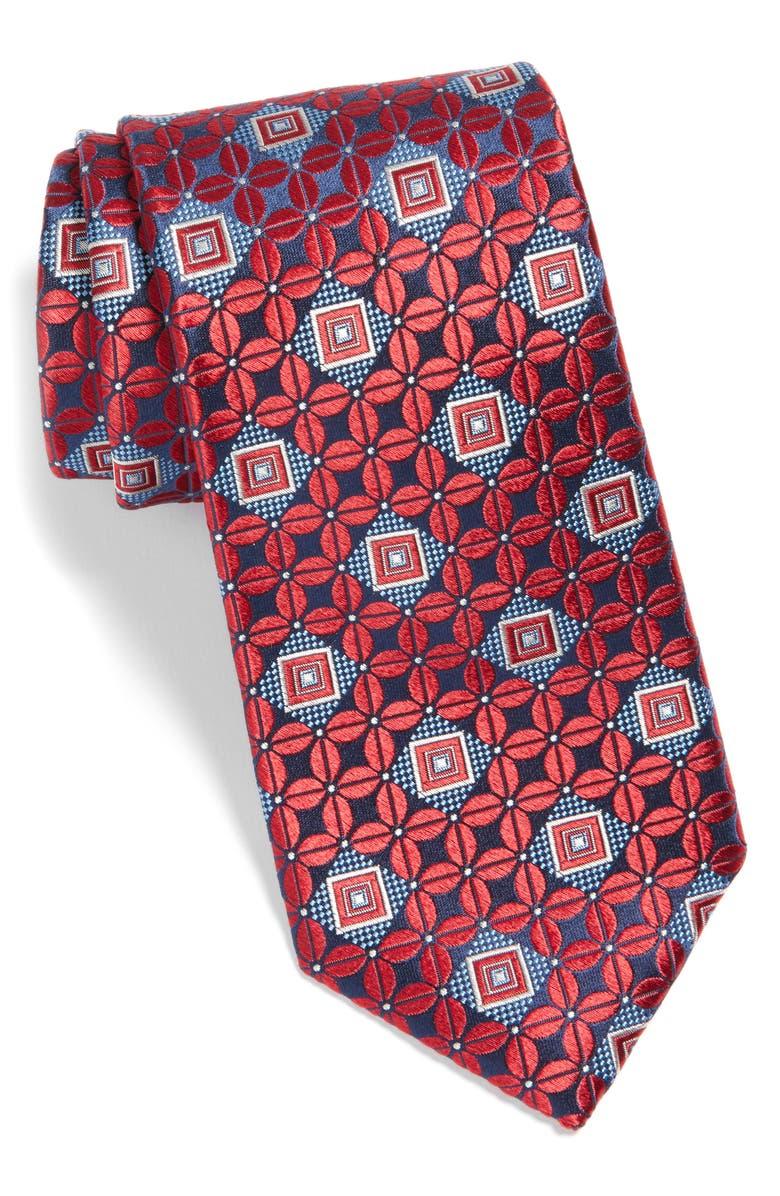 NORDSTROM MEN'S SHOP Bartin Medallion Silk Tie, Main, color, RED