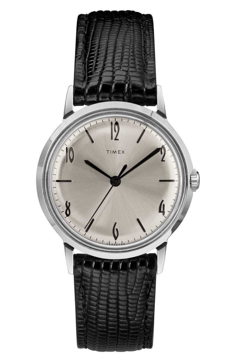 TIMEX<SUP>®</SUP> Marlin Leather Strap Watch, 34mm, Main, color, BLACK/ SILVER