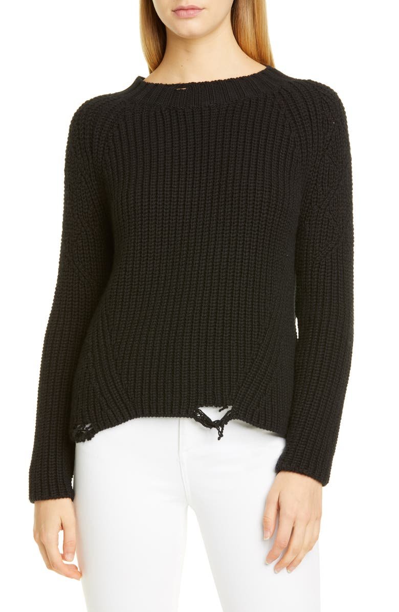 BROCK COLLECTION Destroyed Cashmere & Silk Sweater, Main, color, BLACK