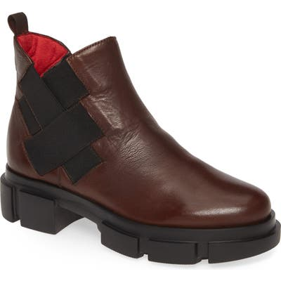 Pas De Rouge Velar Woven Detail Boot, Brown