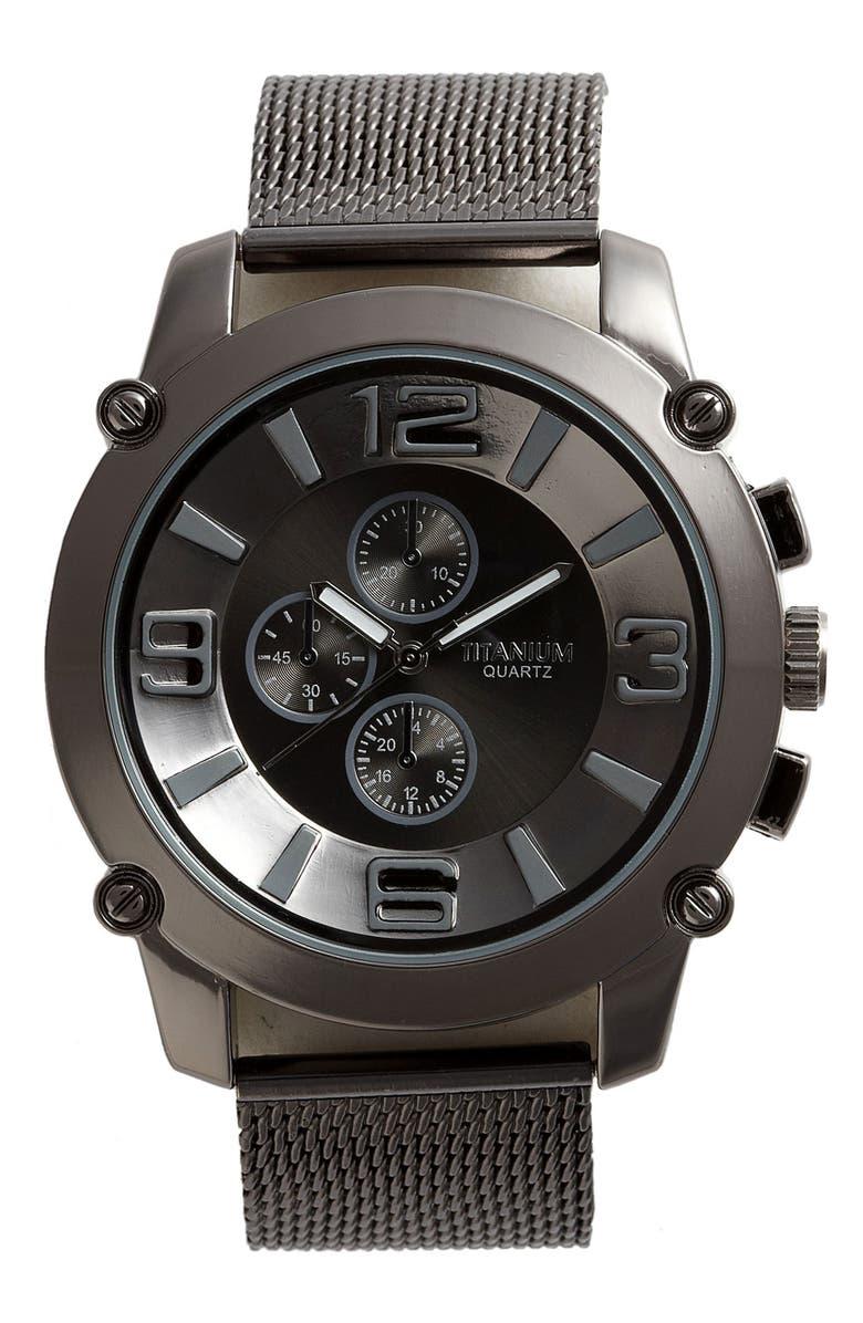 TITANIUM 'Big Number' Mesh Watch, Main, color, 060