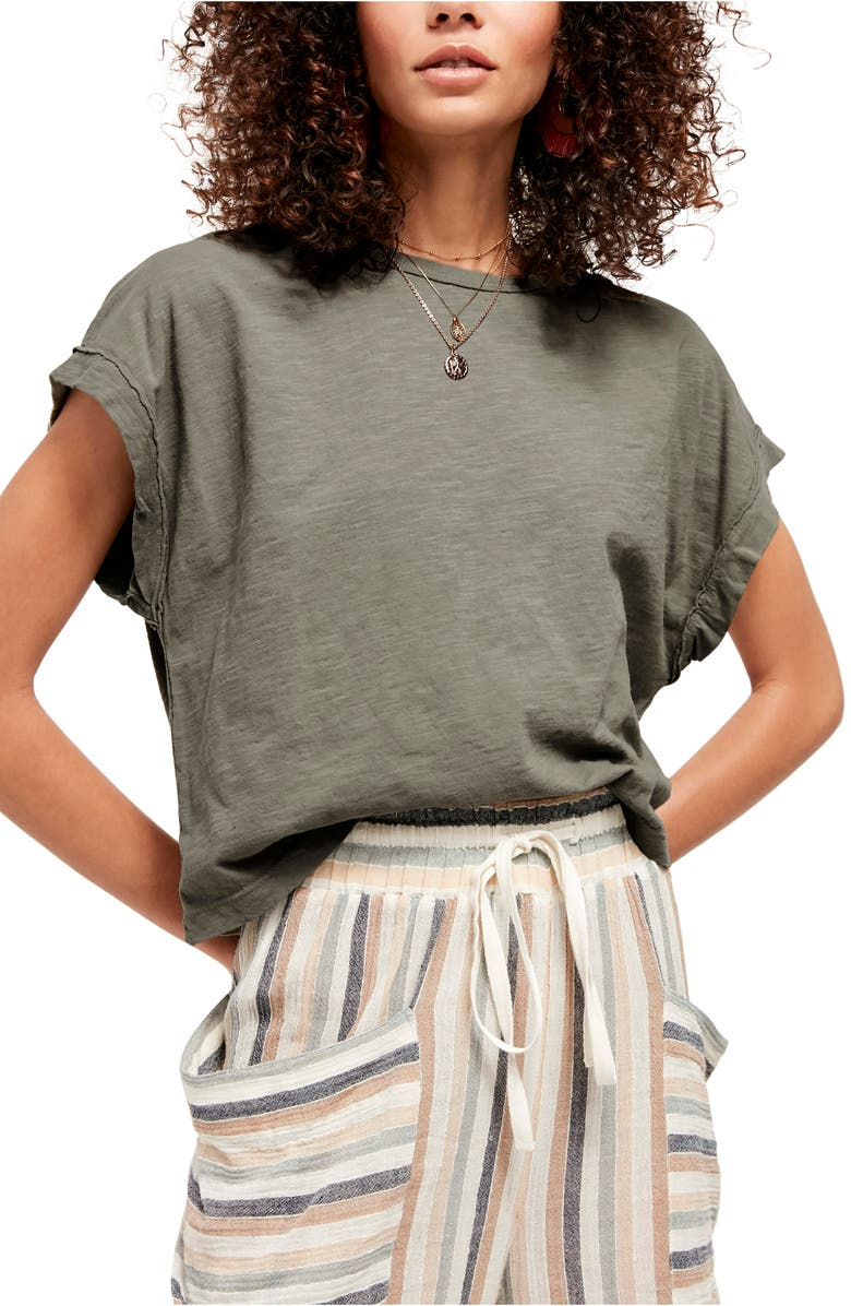 FREE PEOPLE You Rock T-Shirt, Main, color, WASHED ARMY