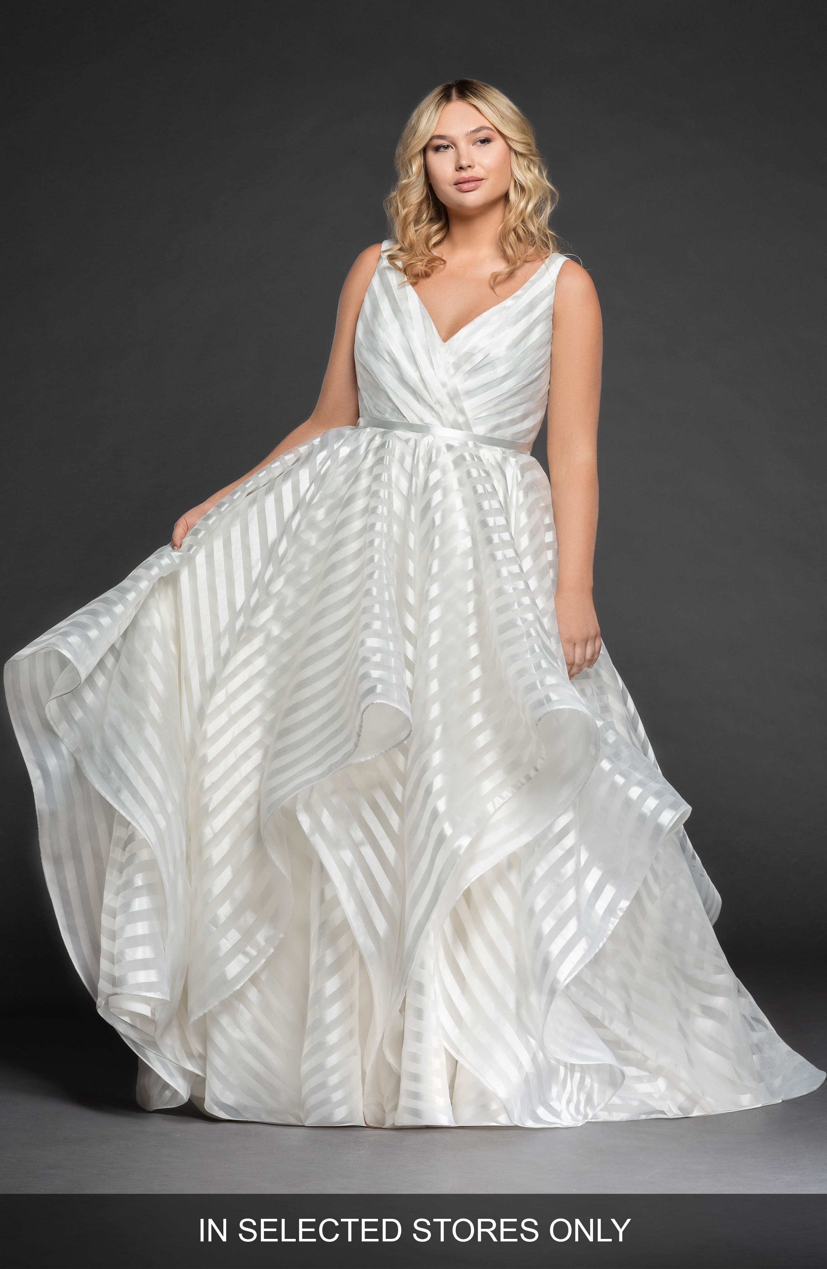 fc3682c31566 Plus Size Hayley Paige Decklyn Stripe Organza Ballgown, Size IN STORE ONLY  - Ivory