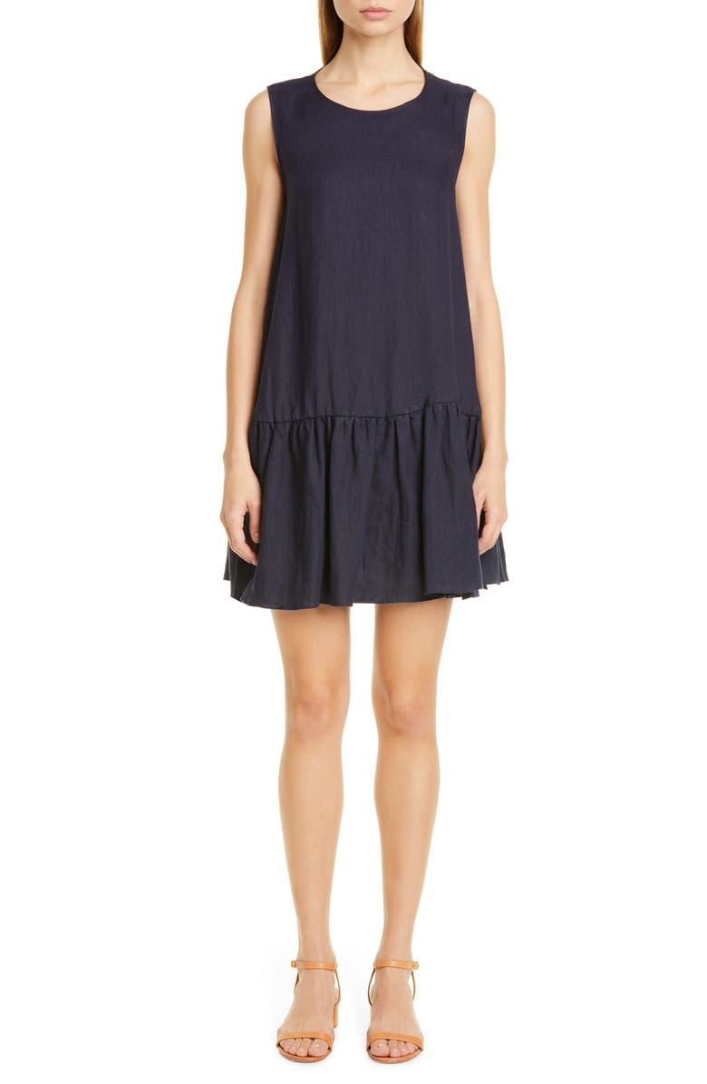 MANSUR GAVRIEL Ruffle Hem Linen Minidress, Main, color, 460