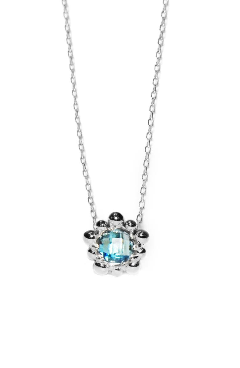ANZIE Dew Drop Micro Flower Pendant, Main, color, BLUE TOPAZ