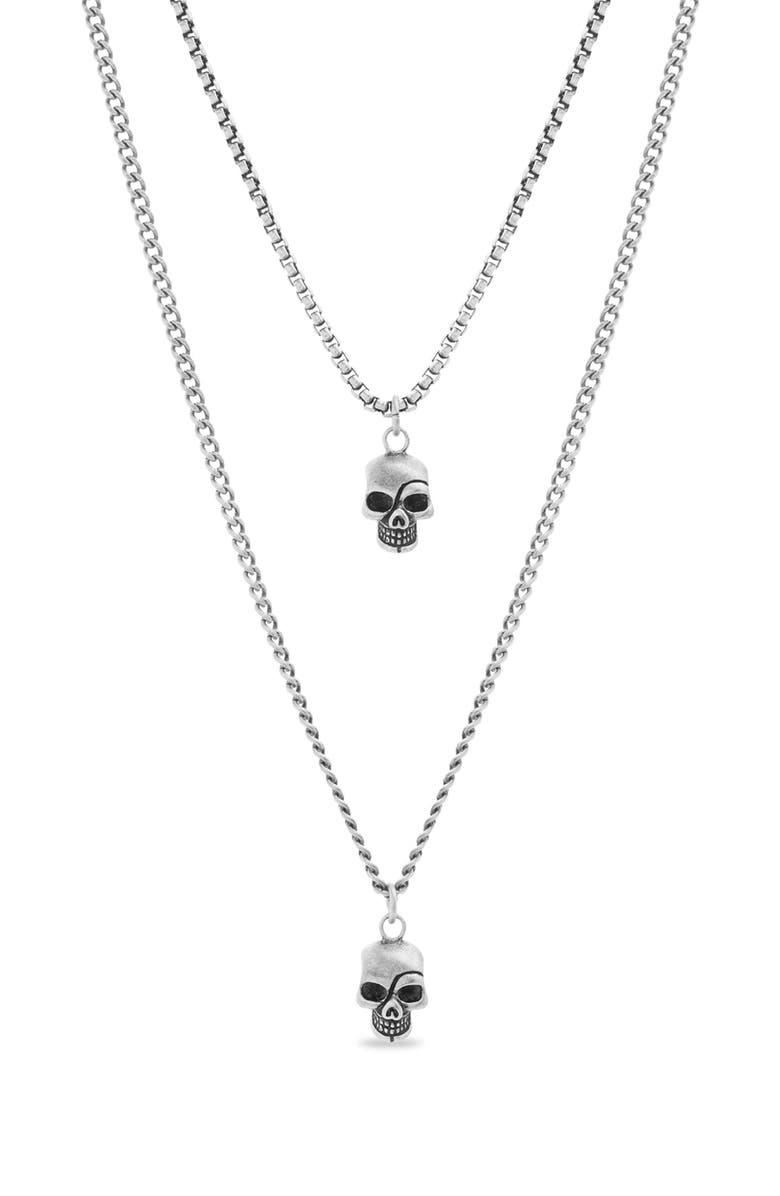 STEVE MADDEN Skull Duo Pendant Necklace, Main, color, METALLIC SILVER
