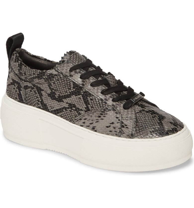 JSLIDES Courto Platform Sneaker, Main, color, BLACK/ GREY LEATHER