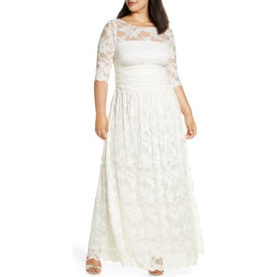 Plus Size Kiyonna Lace A-Line Gown, Ivory