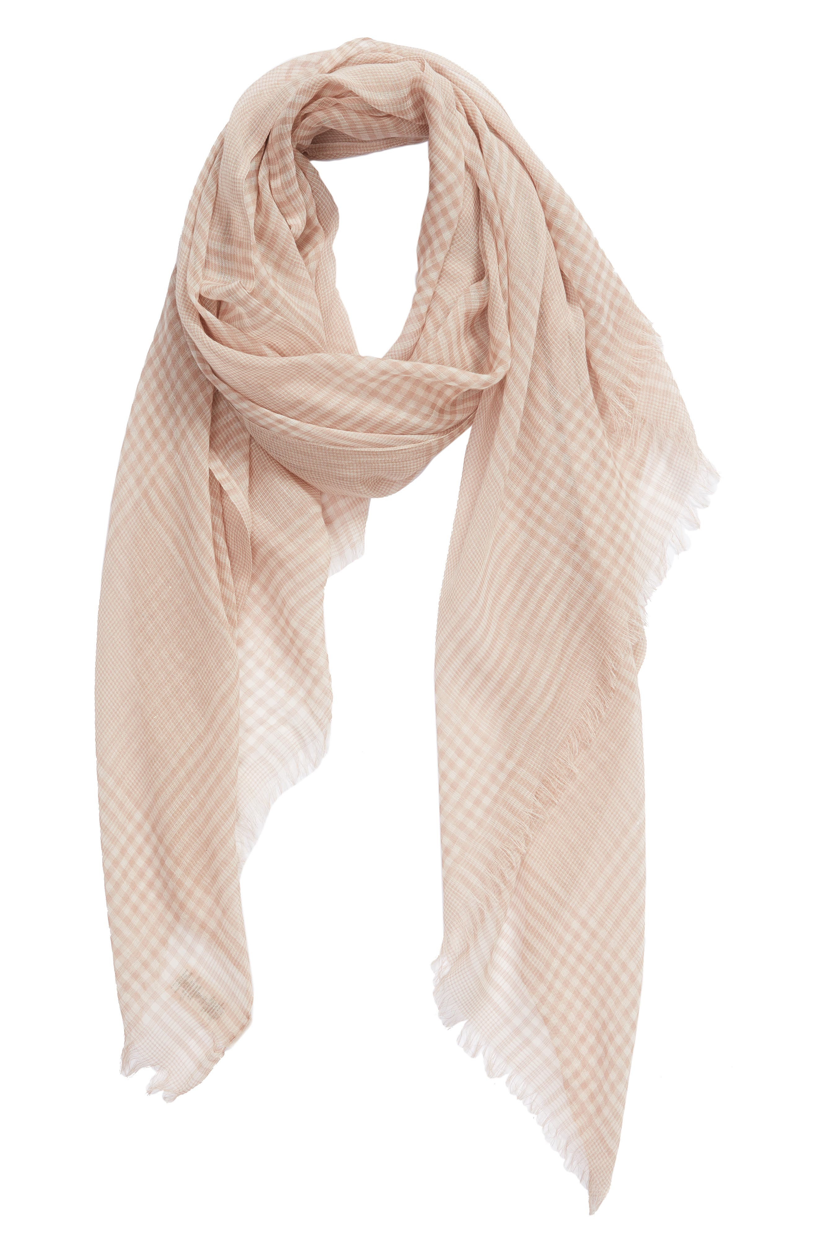 ,                             Jessa Gingham Scarf,                             Alternate thumbnail 2, color,                             TAUPE