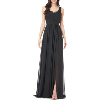 Love By Theia Lace Trim Chiffon Gown, Black