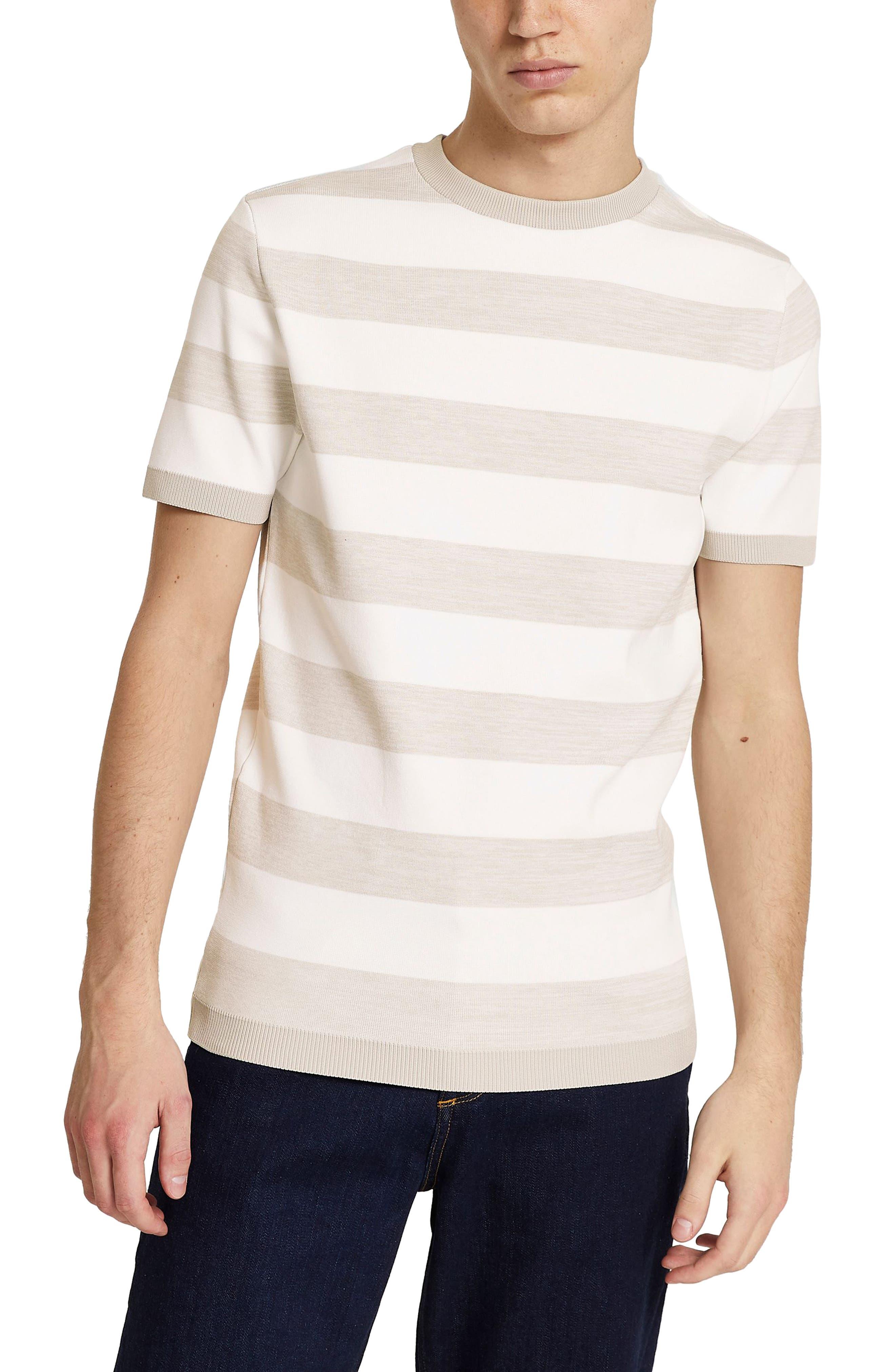 1950s Mens Shirts | Retro Bowling Shirts, Vintage Hawaiian Shirts Mens River Island Space Dye Stripe Short Sleeve Sweater Size Large - Beige $45.00 AT vintagedancer.com