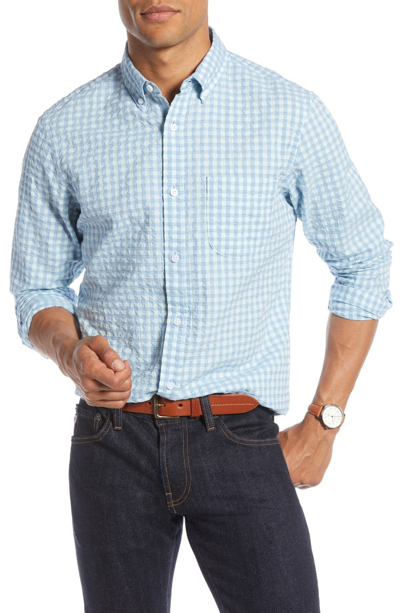 1901 Gingham Seersucker Shirt, Main, color, 445