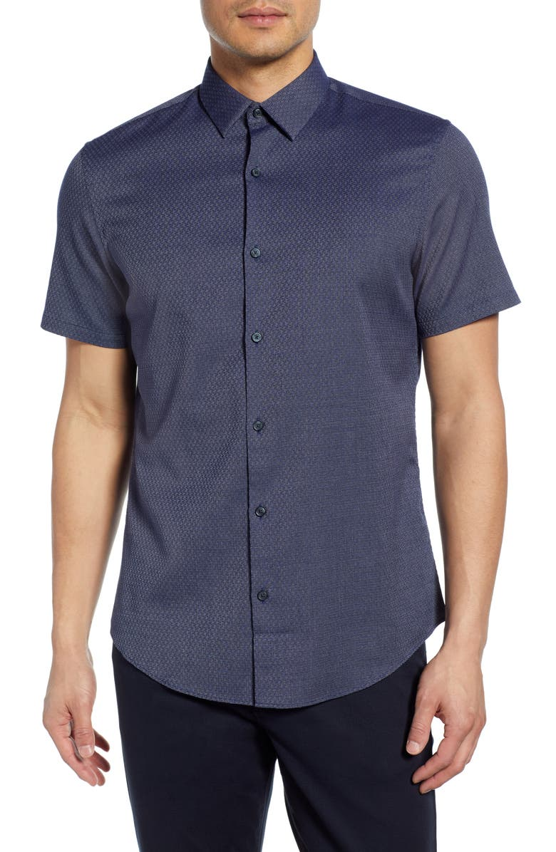 CALIBRATE Slim Fit Short Sleeve Button-Up Shirt, Main, color, NAVY JACQUARD TEXTURE