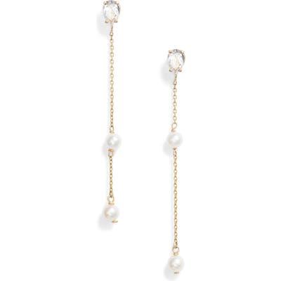 Poppy Finch Pearl & Topaz Drop Earrings