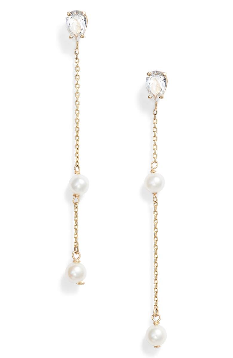 POPPY FINCH Pearl & Topaz Drop Earrings, Main, color, YELLOW GOLD/ PEARL