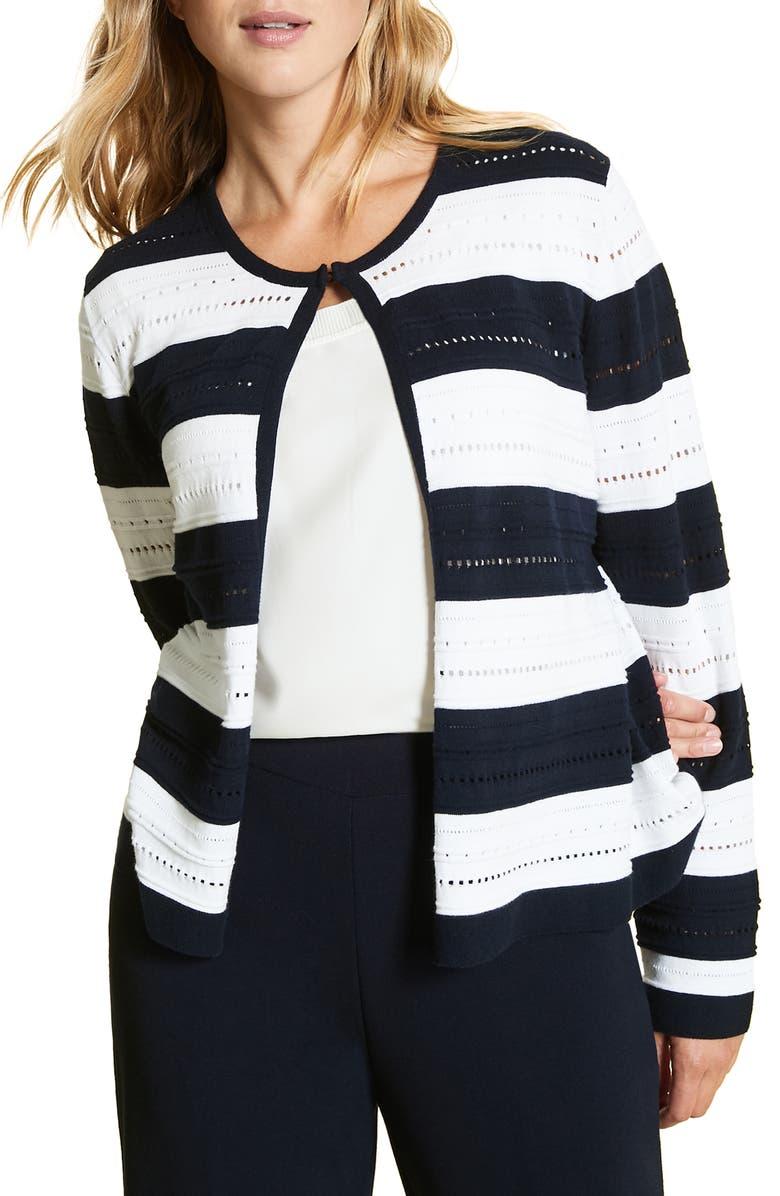 MARINA RINALDI Mais Stripe Cardigan, Main, color, NAVY BLUE