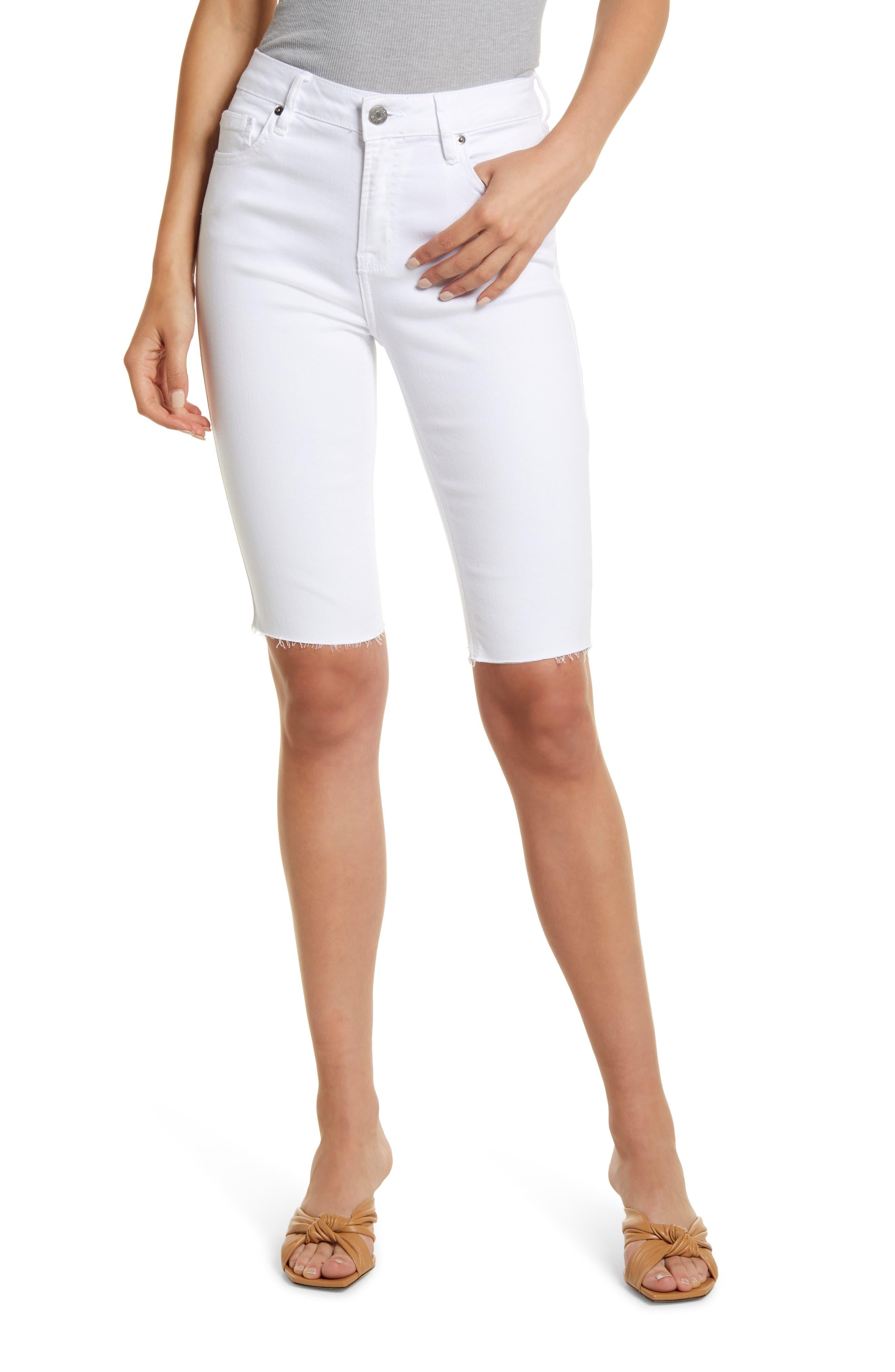 High Waist Fray Hem Cutoff Bermuda Shorts