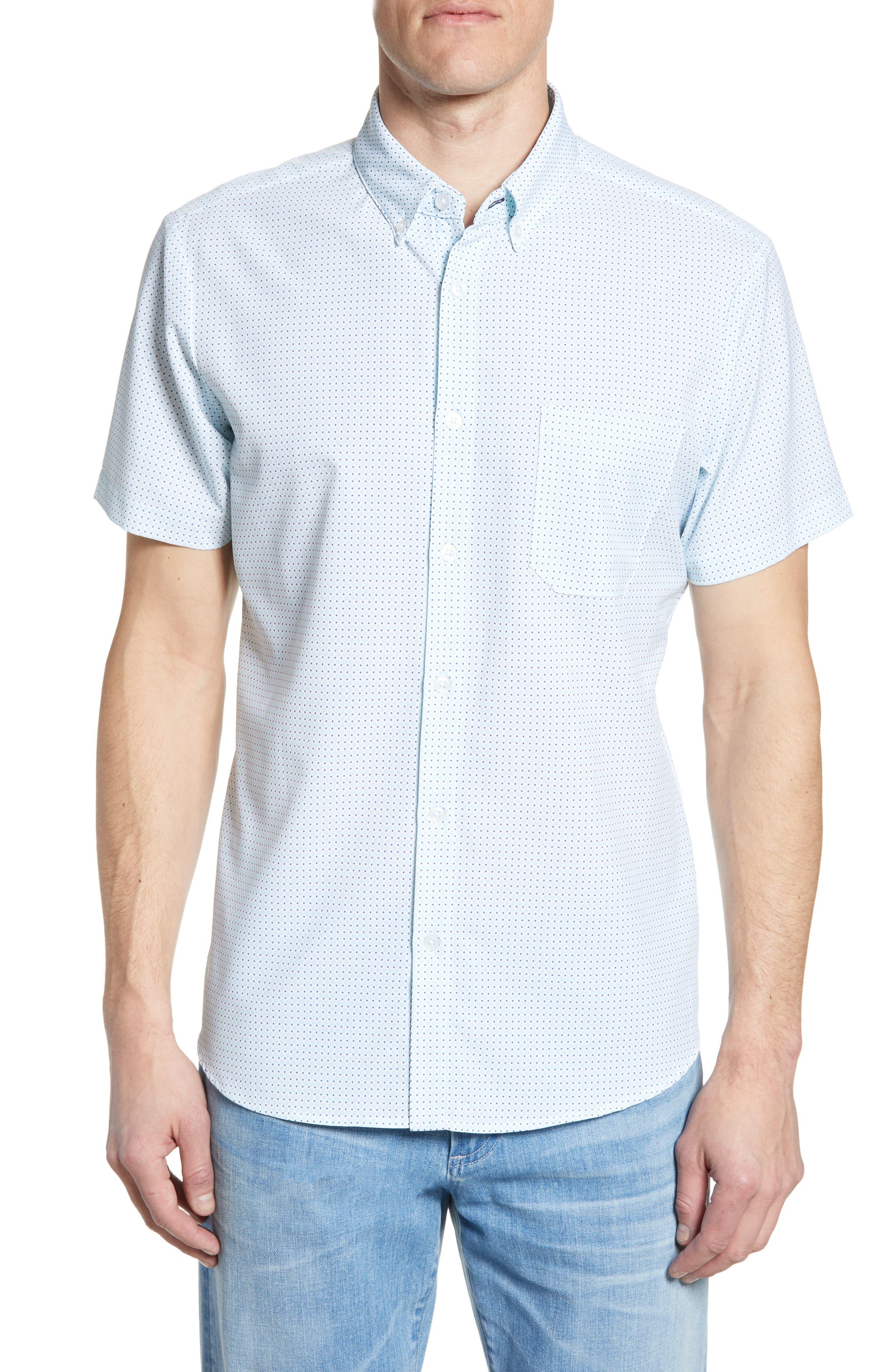 Burton Trim Fit Dot Print Performance Sport Shirt, Main, color, BLUE