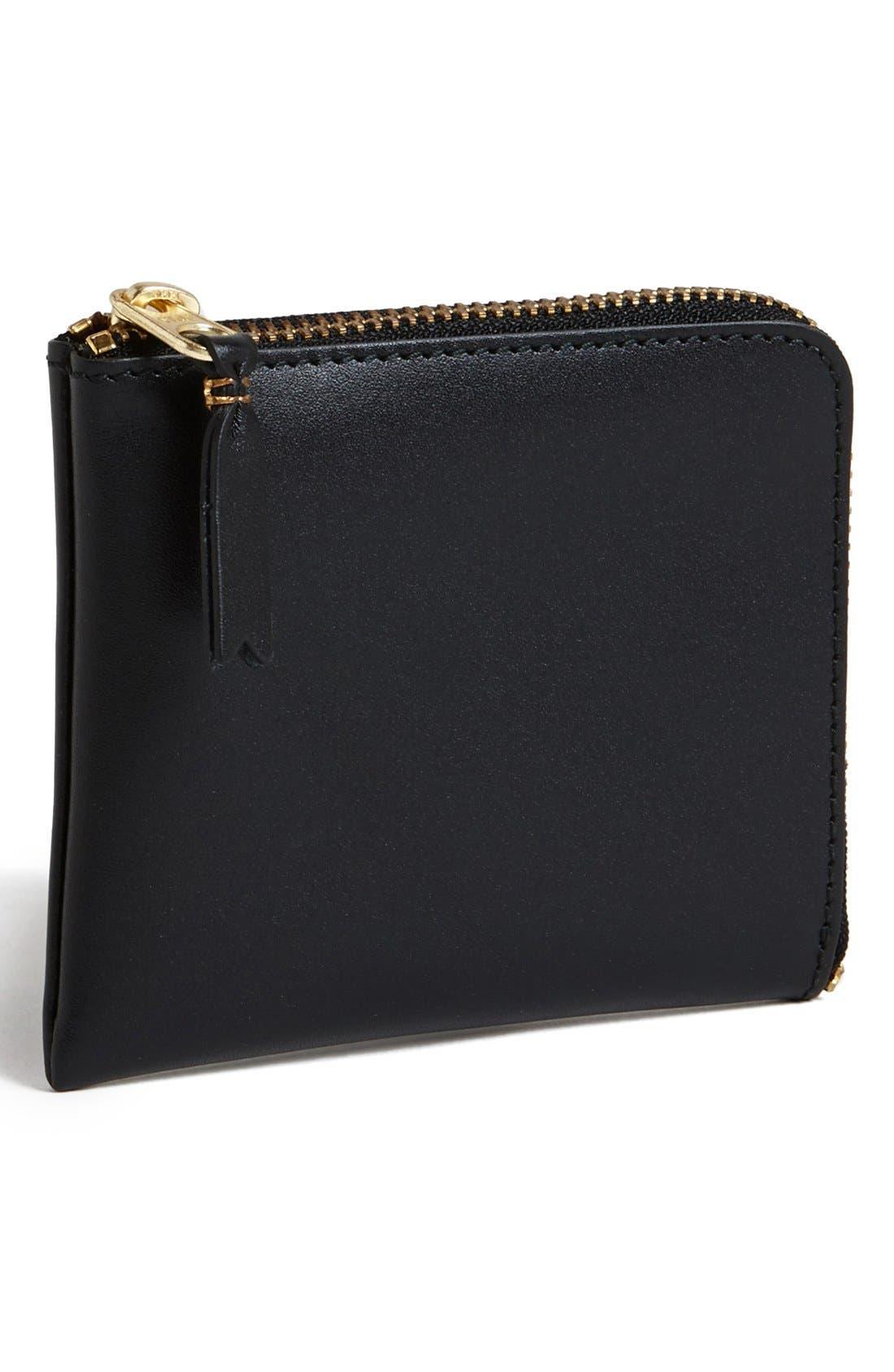 ,                             Half-Zip Leather Wallet,                             Main thumbnail 4, color,                             001