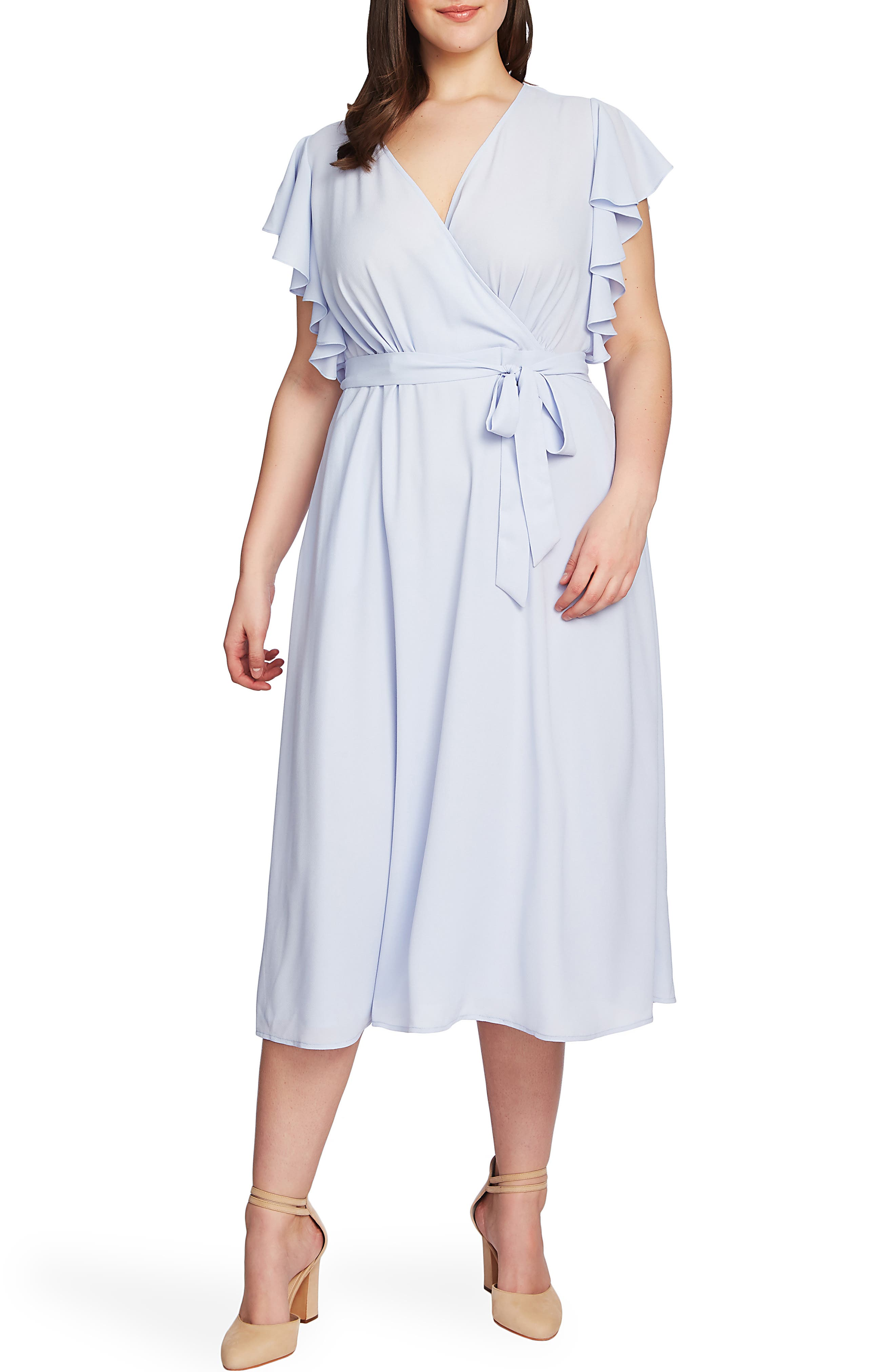 Indian Summers Inspired Clothing Plus Size Womens 1.state Flounce Sleeve Surplice Belted Midi Dress Size 14W - Blue $139.00 AT vintagedancer.com