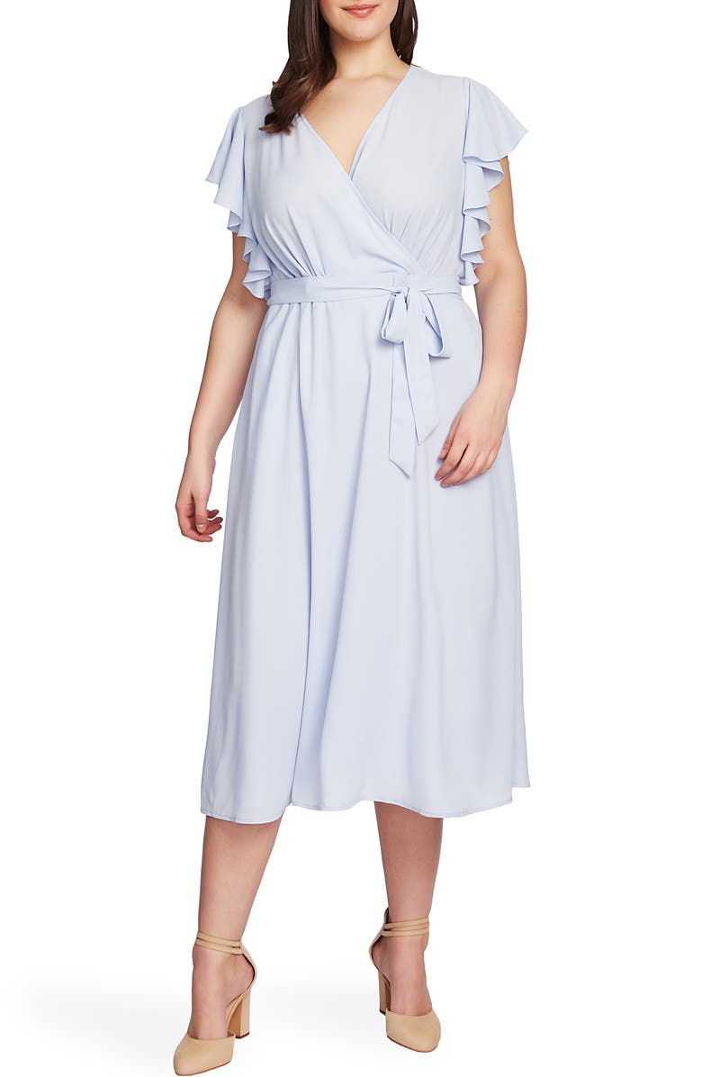 1.STATE Flounce Sleeve Surplice Belted Midi Dress, Main, color, OPAL WATERS