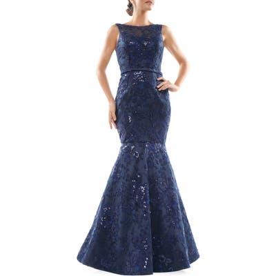 Marsoni Metallic Lace Trumpet Gown, Blue