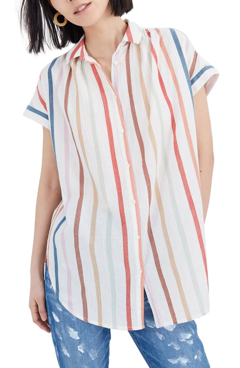 1985511a9ab Central Rainbow Stripe Tunic Shirt, Main, color, NEBS STRIPE PEARL IVORY