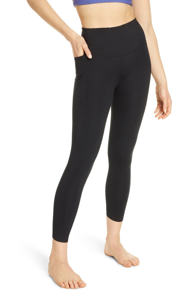 ZELLA High Waist Studio Pocket 7/8 Leggings, Main, color, BLACK