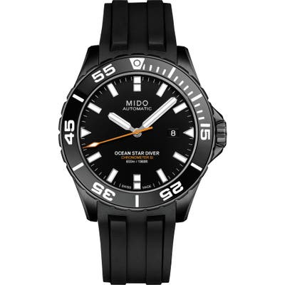 Mido Ocean Star Diver 600 Automatic Rubber Strap Watch, 43.5Mm