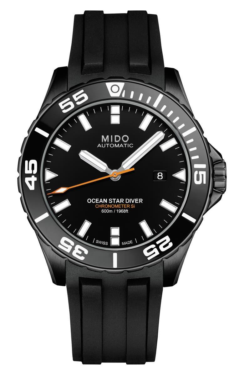 MIDO Ocean Star Diver 600 Automatic Rubber Strap Watch, 43.5mm, Main, color, BLACK/ SILVER