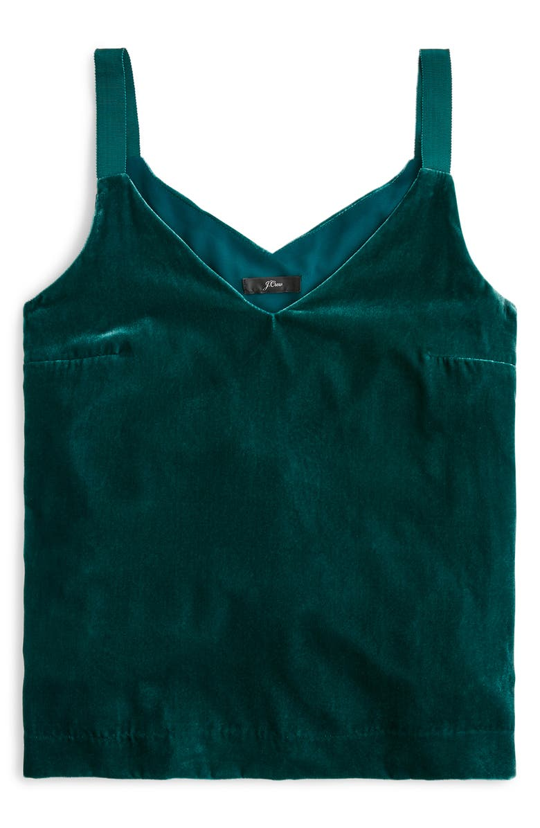 J.CREW Drapey Velvet Camisole Top, Main, color, ACADEMIC GREEN