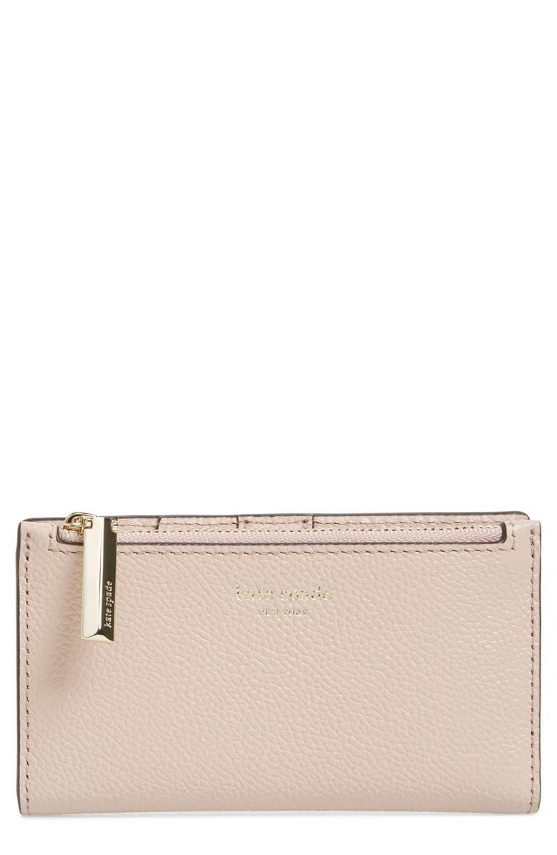 KATE SPADE NEW YORK margaux slim bifold wallet, Main, color, PALE VELLUM