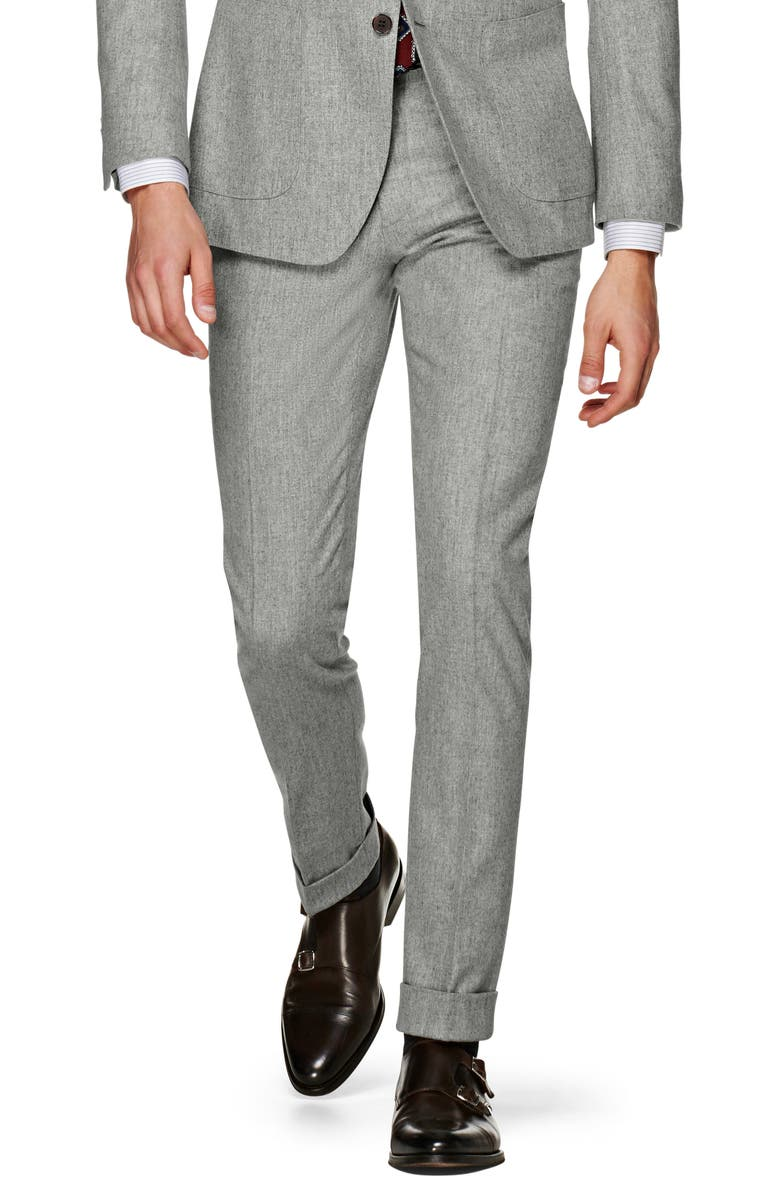 SUITSUPPLY Soho Flat Front Solid Wool Trousers, Main, color, LIGHT GREY