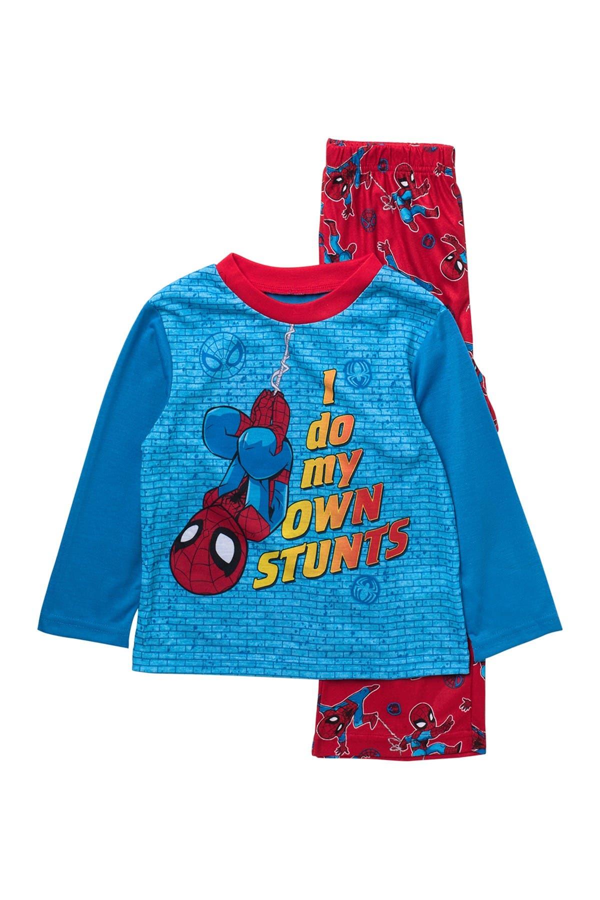 Image of AME Marvel Spider-Man Print Long Sleeve Top & Sleep Pants Pajama 2-Piece Set