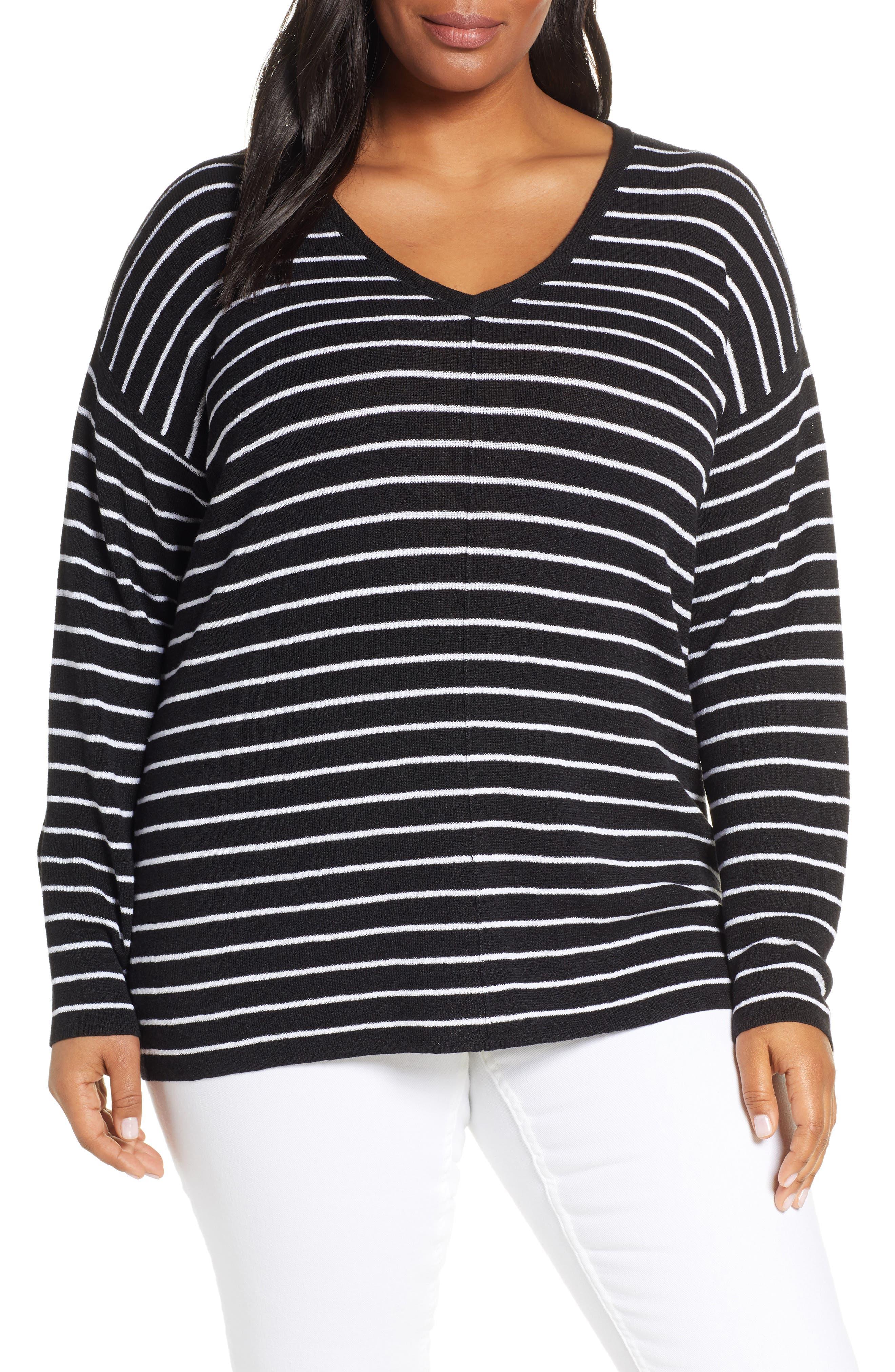 Plus Size Caslon V-Neck Linen Blend Sweater, Black