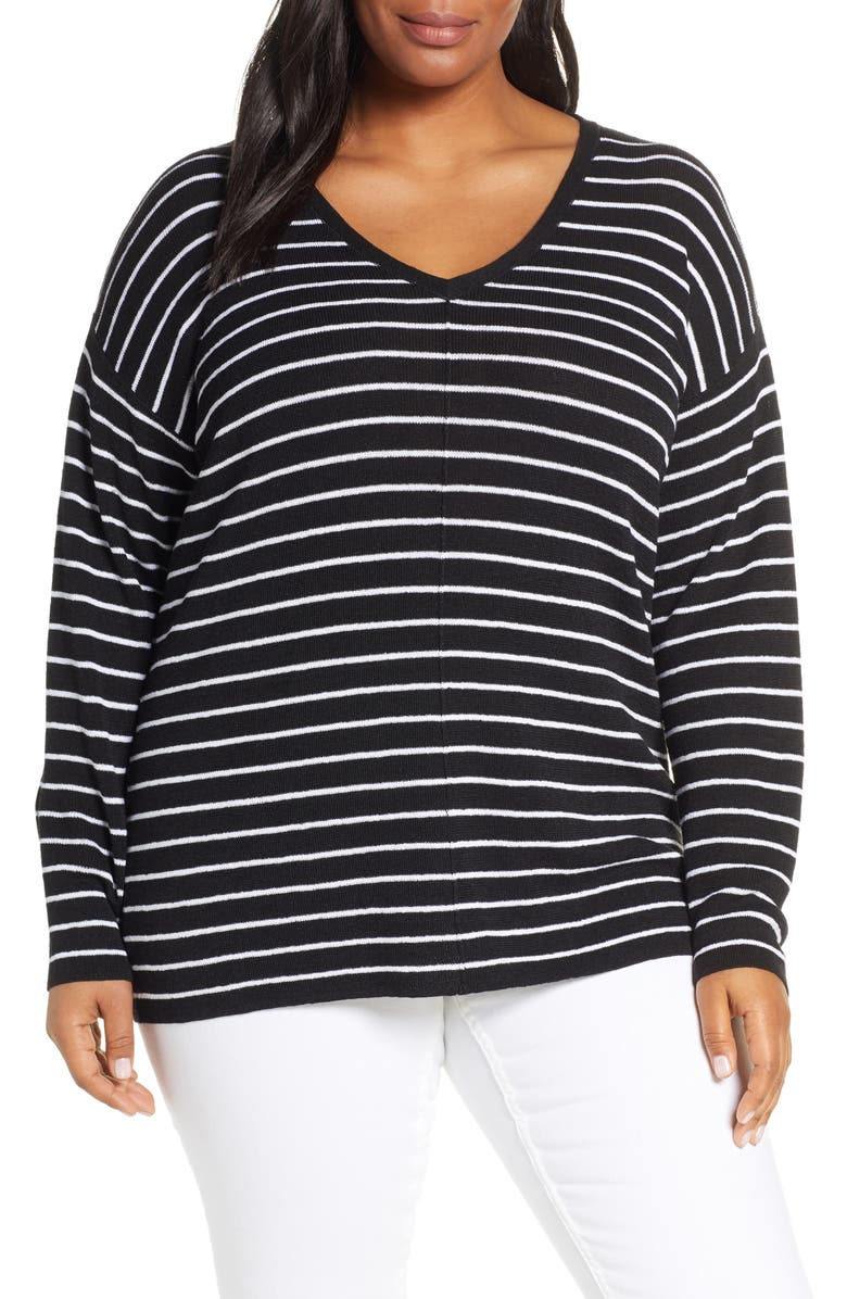 CASLON<SUP>®</SUP> V-Neck Linen Blend Sweater, Main, color, 001