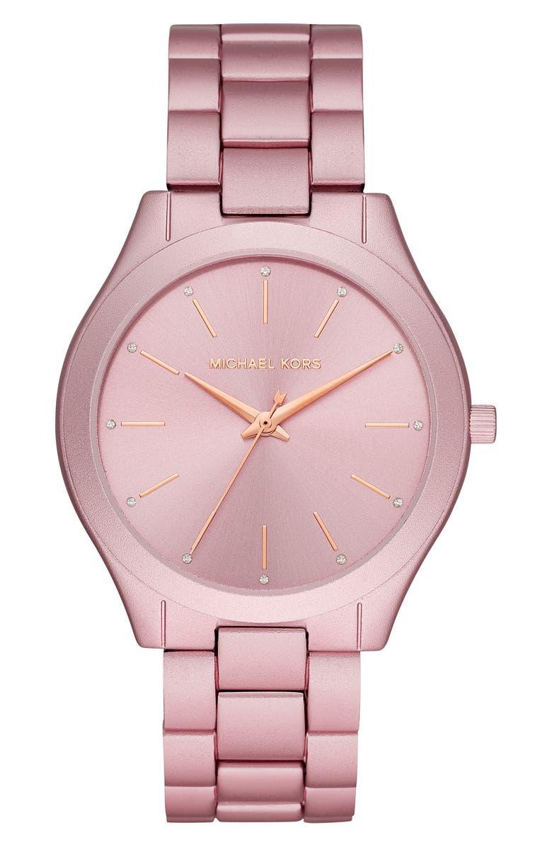 MICHAEL KORS 'Slim Runway' Bracelet Watch, 42mm, Main, color, 000