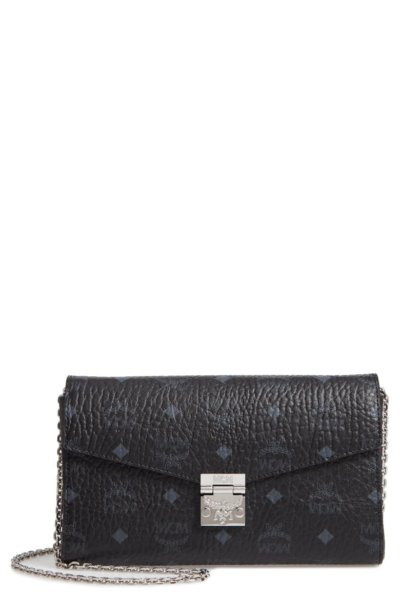 MCM Millie Visetos Canvas Wallet on a Chain, Main, color, BLACK