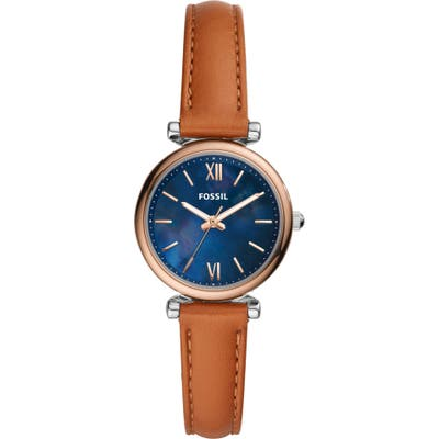 Fossil Mini Carlie Leather Strap Watch, 2m