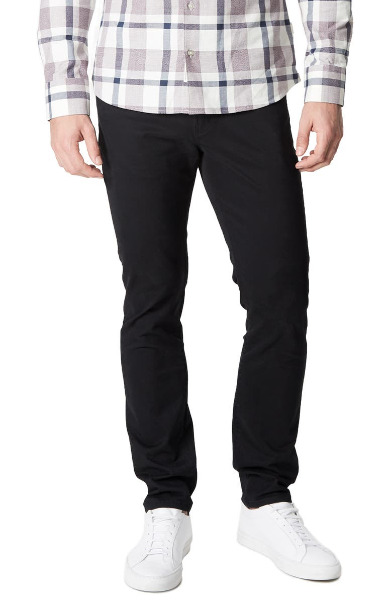 7 DIAMONDS Clifton Slim Brushed Twill Slim Straight Leg Five-Pocket Pants, Main, color, BLACK