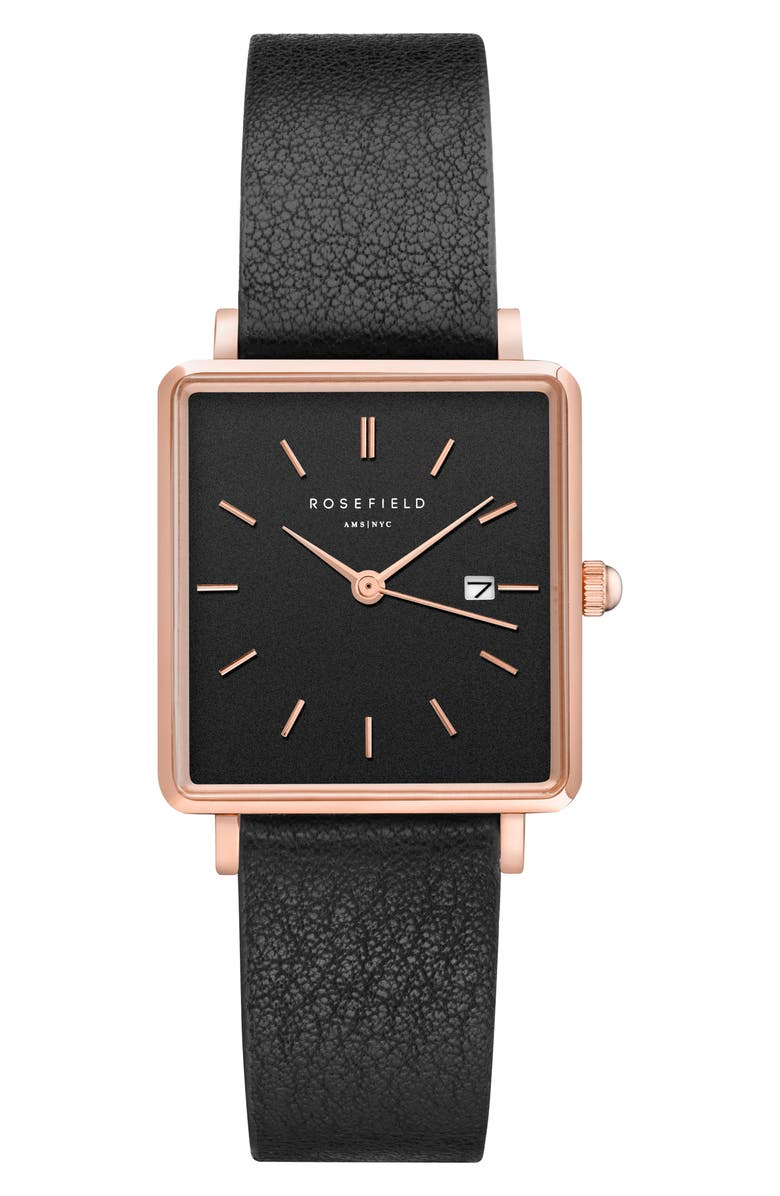 ROSEFIELD The Boxy Leather Strap Watch, 26mm x 28mm, Main, color, 001