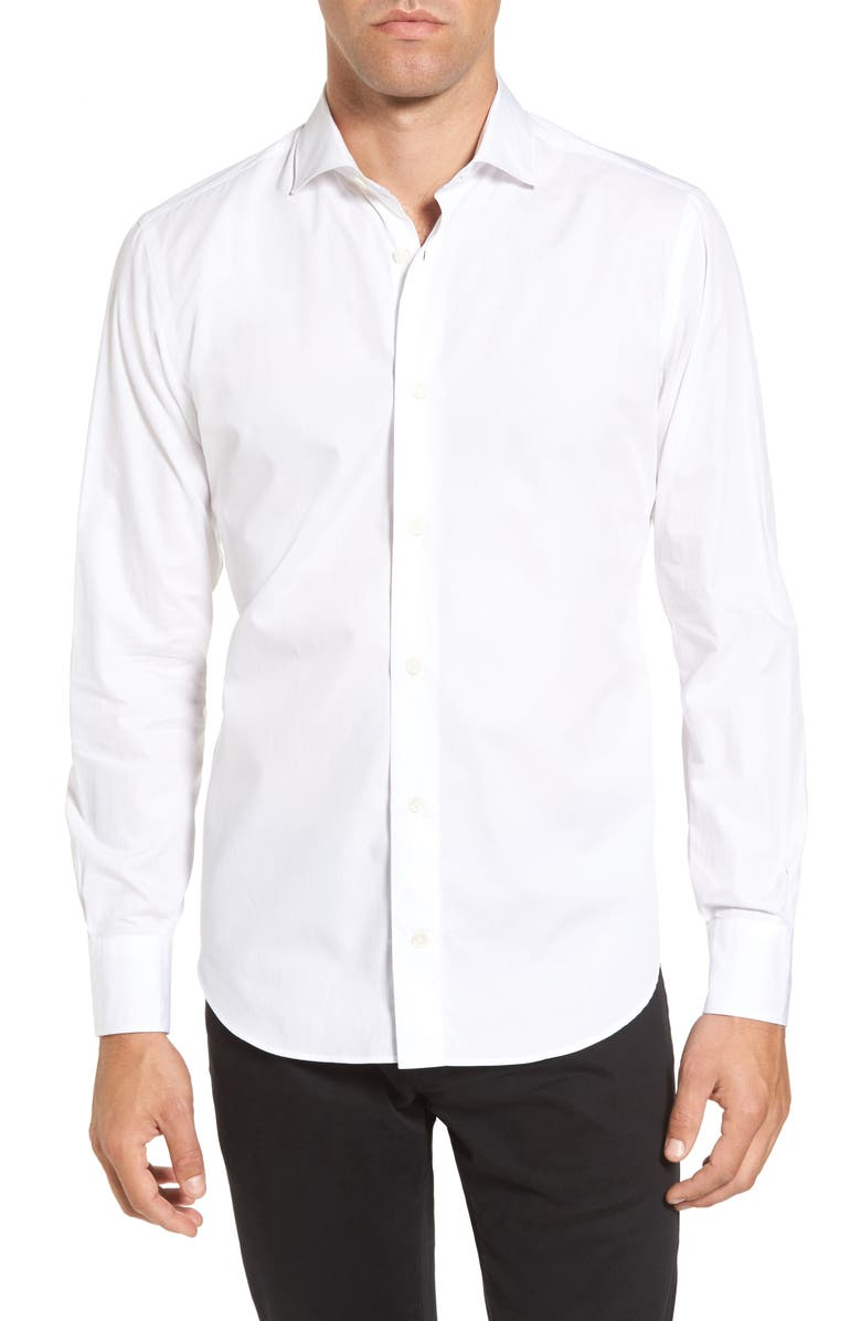 ELEVENTY Slim Fit Shirt, Main, color, WHITE