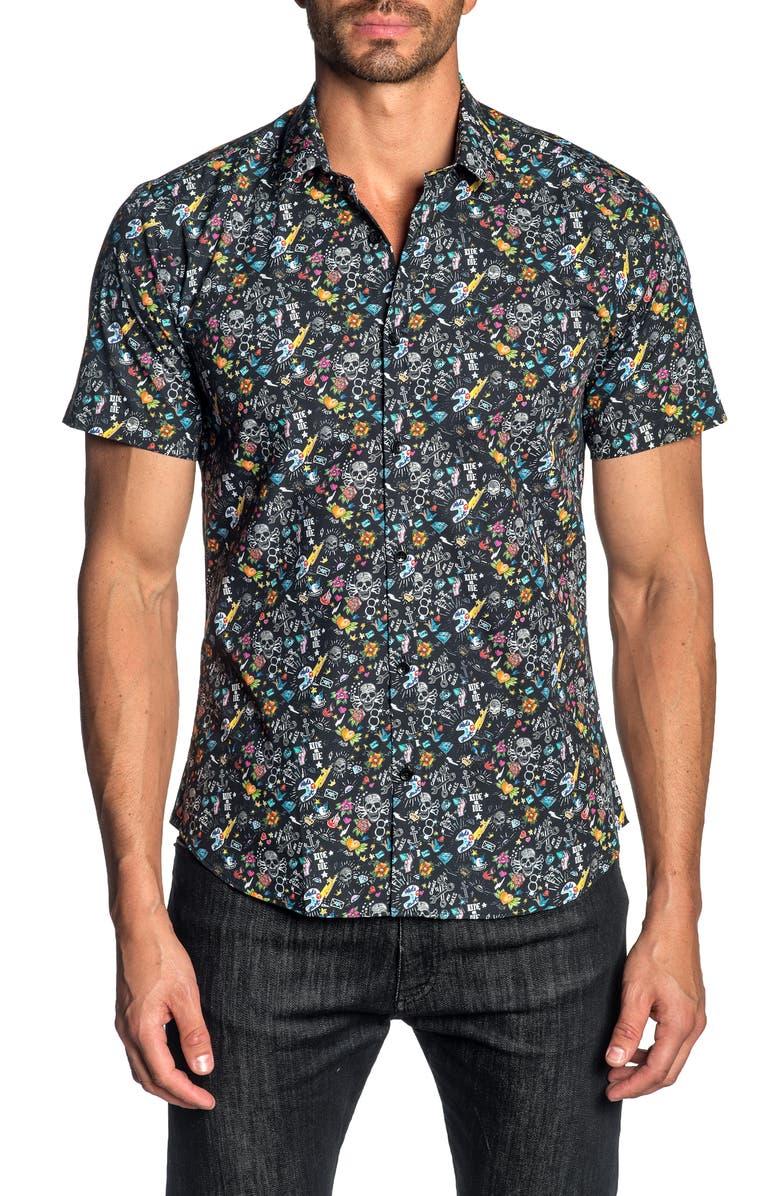 JARED LANG Slim Fit Skull Print Cotton Shirt, Main, color, 001