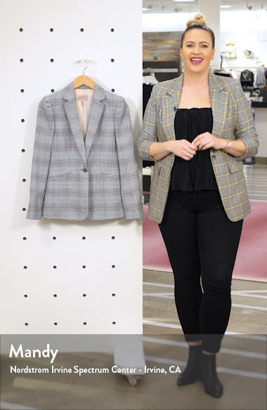 Summer Check Puff Sleeve Linen Blend Suit Jacket, sales video thumbnail