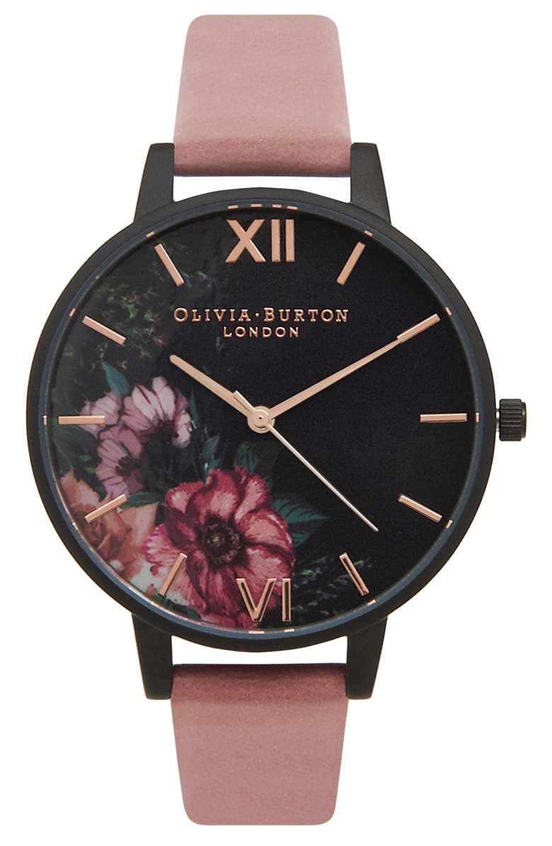 OLIVIA BURTON 'After Dark' Leather Strap Watch, 38mm, Main, color, 998