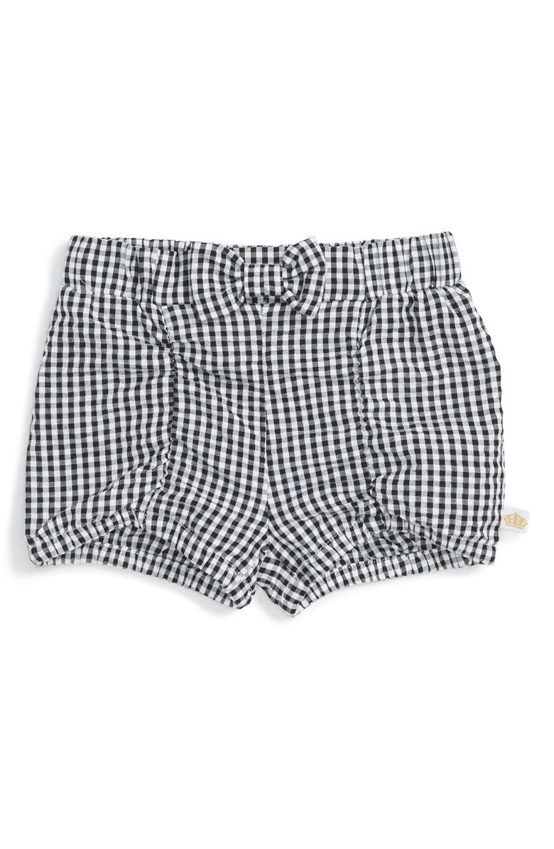 ROSIE POPE Ruched Gingham Bubble Shorts, Main, color, 001